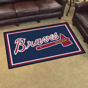 Picture of MLB - Atlanta Braves 4'x6' Plush Rug