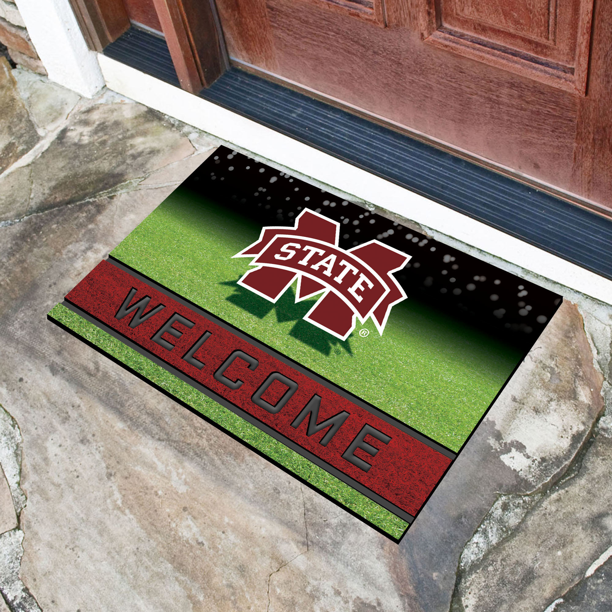 FANMATS 22525 Team Color Crumb Rubber Mississippi State University Door Mat