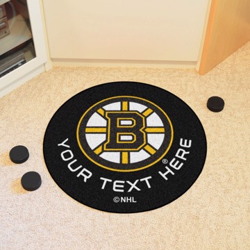 Picture of Boston Bruins Personalized Hockey Puck Mat Rug