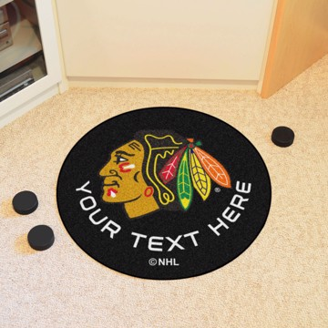 Picture of Chicago Blackhawks Personalized Hockey Puck Mat Rug