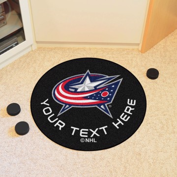 Picture of Columbus Blue Jackets Personalized Hockey Puck Mat Rug
