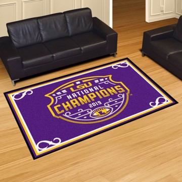 Picture of LSU Tigers 2019-20 National Championship 5x8 Plush Rug