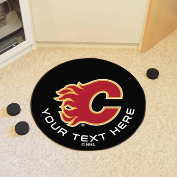 Picture of Calgary Flames Personalized Hockey Puck Mat Rug