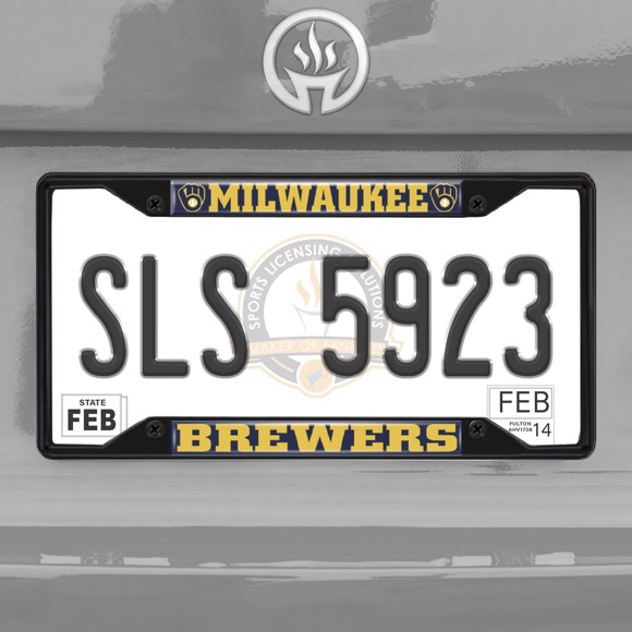 Picture of MLB - Milwaukee Brewers License Plate Frame - Black