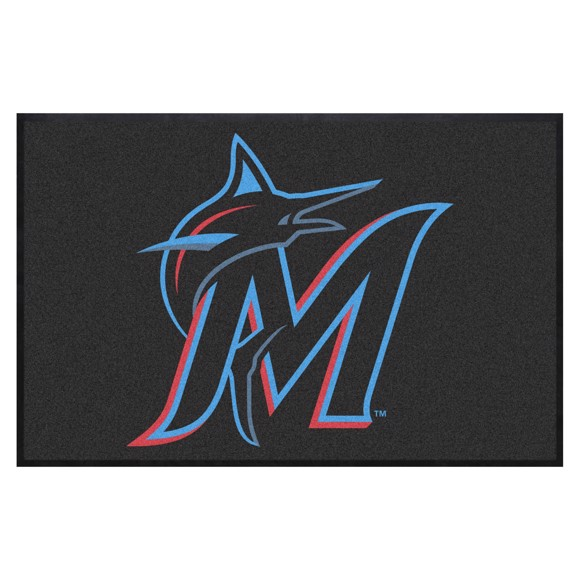 Picture of Miami Marlins 4X6 High-Traffic Mat with Durable Rubber Backing