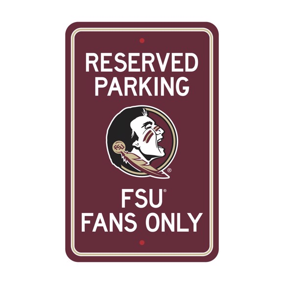 Picture of Florida State Seminoles Team Color Reserved Parking Sign Décor 18in. X 11.5in. Lightweight