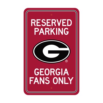 Picture of Georgia Bulldogs Team Color Reserved Parking Sign Décor 18in. X 11.5in. Lightweight