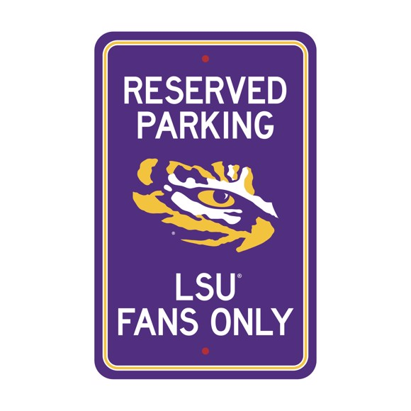 Picture of LSU Tigers Team Color Reserved Parking Sign Décor 18in. X 11.5in. Lightweight