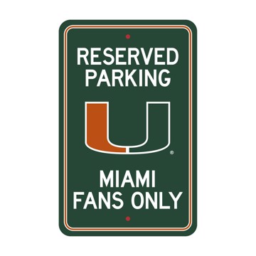 Picture of Miami Hurricanes Team Color Reserved Parking Sign Décor 18in. X 11.5in. Lightweight