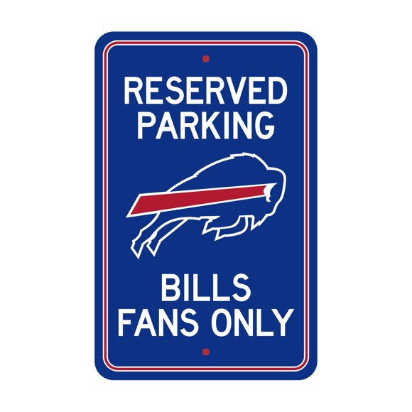 Picture of Buffalo Bills Team Color Reserved Parking Sign Décor 18in. X 11.5in. Lightweight