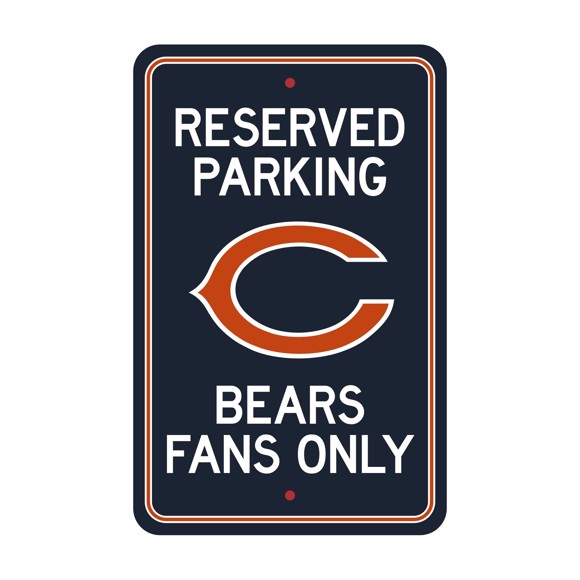 Picture of Chicago Bears Team Color Reserved Parking Sign Décor 18in. X 11.5in. Lightweight
