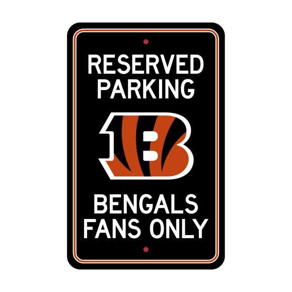 Picture of Cincinnati Bengals Team Color Reserved Parking Sign Décor 18in. X 11.5in. Lightweight