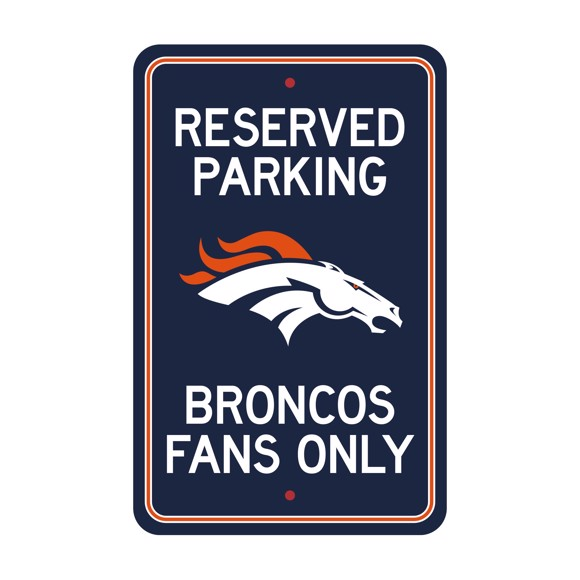 Picture of Denver Broncos Team Color Reserved Parking Sign Décor 18in. X 11.5in. Lightweight