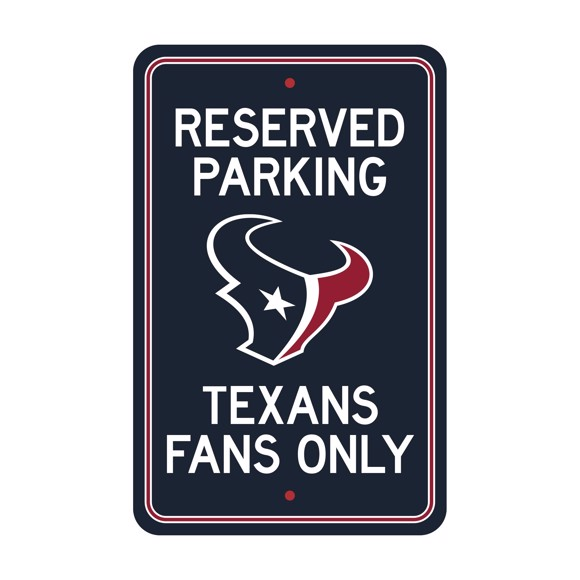 Picture of Houston Texans Team Color Reserved Parking Sign Décor 18in. X 11.5in. Lightweight
