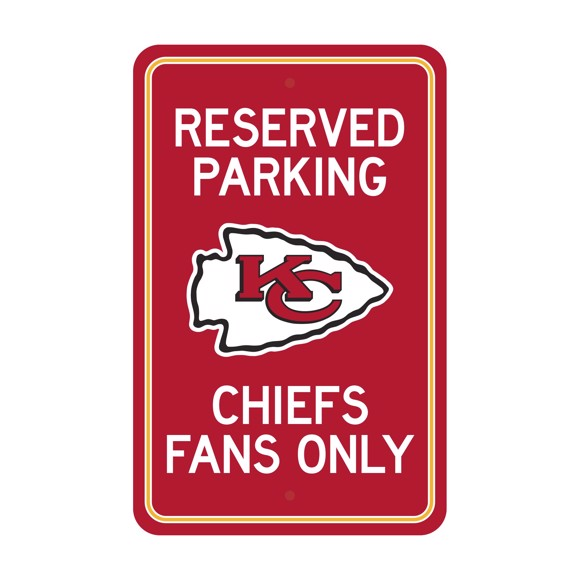 Picture of Kansas City Chiefs Team Color Reserved Parking Sign Décor 18in. X 11.5in. Lightweight
