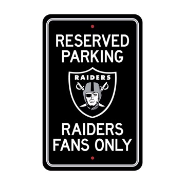 Picture of Las Vegas Raiders Team Color Reserved Parking Sign Décor 18in. X 11.5in. Lightweight