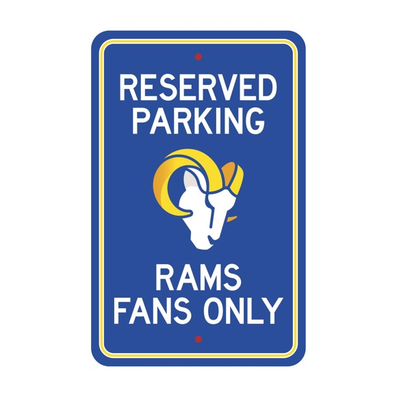Picture of Los Angeles Rams Team Color Reserved Parking Sign Décor 18in. X 11.5in. Lightweight