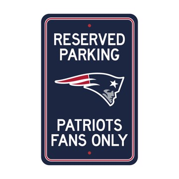 Picture of New England Patriots Team Color Reserved Parking Sign Décor 18in. X 11.5in. Lightweight