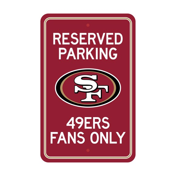Picture of San Francisco 49ers Team Color Reserved Parking Sign Décor 18in. X 11.5in. Lightweight