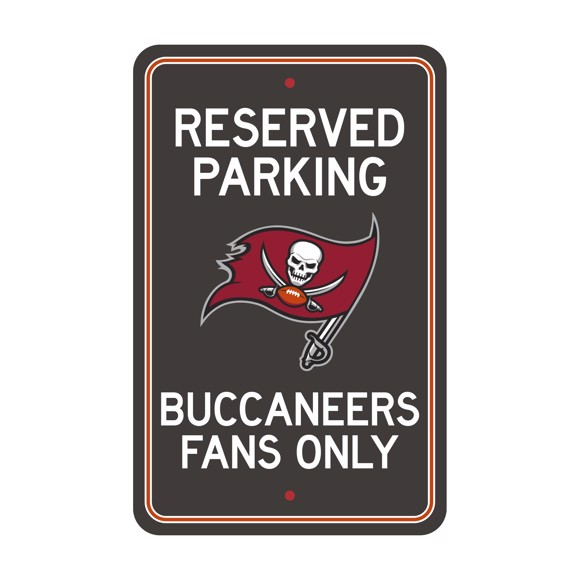 Picture of Tampa Bay Buccaneers Team Color Reserved Parking Sign Décor 18in. X 11.5in. Lightweight