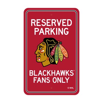 Picture of Chicago Blackhawks Team Color Reserved Parking Sign Décor 18in. X 11.5in. Lightweight
