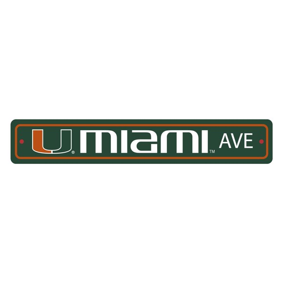 Picture of Miami Hurricanes Team Color Street Sign Décor 4in. X 24in. Lightweight
