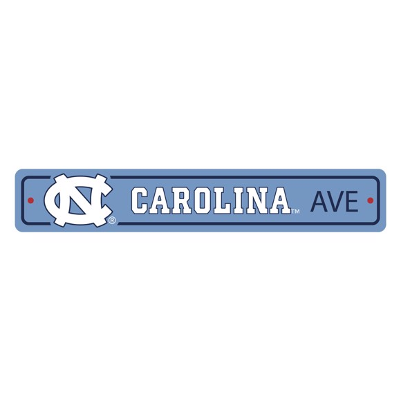 Picture of North Carolina Tar Heels Team Color Street Sign Décor 4in. X 24in. Lightweight