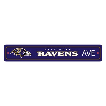 Picture of Baltimore Ravens Team Color Street Sign Décor 4in. X 24in. Lightweight