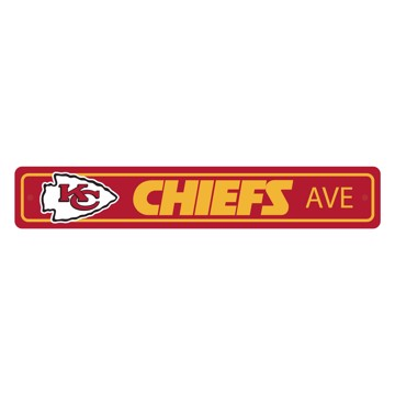 Picture of Kansas City Chiefs Team Color Street Sign Décor 4in. X 24in. Lightweight