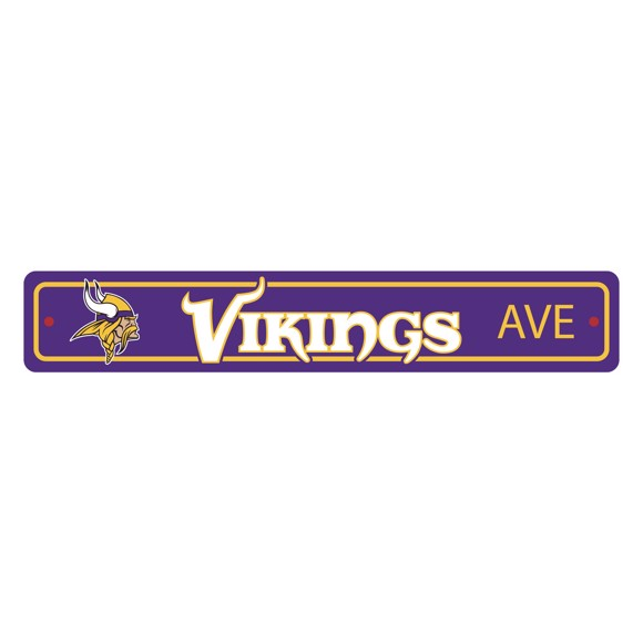 Picture of Minnesota Vikings Team Color Street Sign Décor 4in. X 24in. Lightweight
