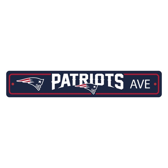 Picture of New England Patriots Team Color Street Sign Décor 4in. X 24in. Lightweight