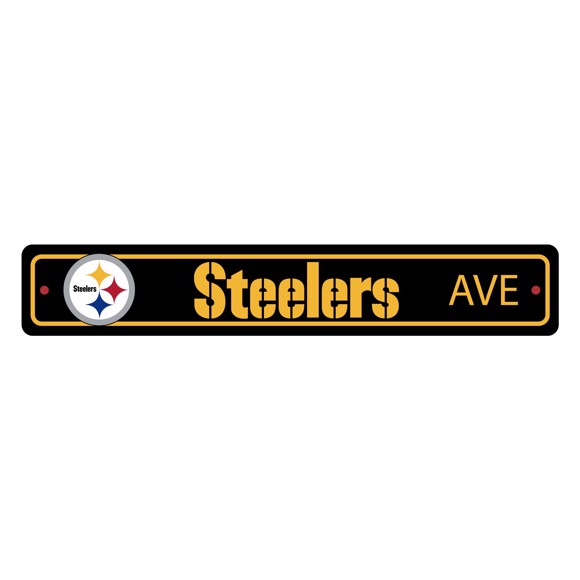 Picture of Pittsburgh Steelers Team Color Street Sign Décor 4in. X 24in. Lightweight
