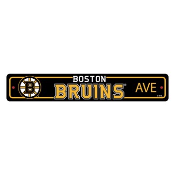 Picture of Boston Bruins Team Color Street Sign Décor 4in. X 24in. Lightweight