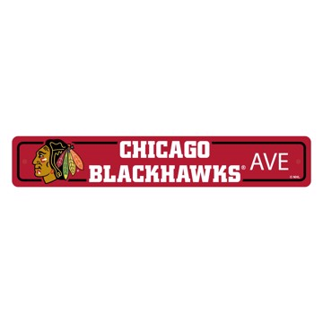 Picture of Chicago Blackhawks Team Color Street Sign Décor 4in. X 24in. Lightweight